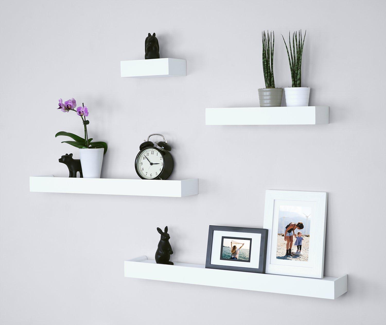 Amazon Com Ballucci Modern Ledge Wall Shelves Set Of 4 White Furniture Decor