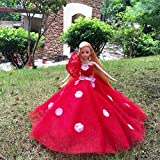 ETbotu Doll's Dress Red Gorgeous Wedding Dress Princess Gown with Hat for Doll