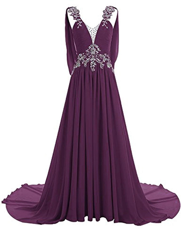 Grape CL Bridal Women's Beaded Rhinestones Straps V Neck Court Train Bridesmaid Dress