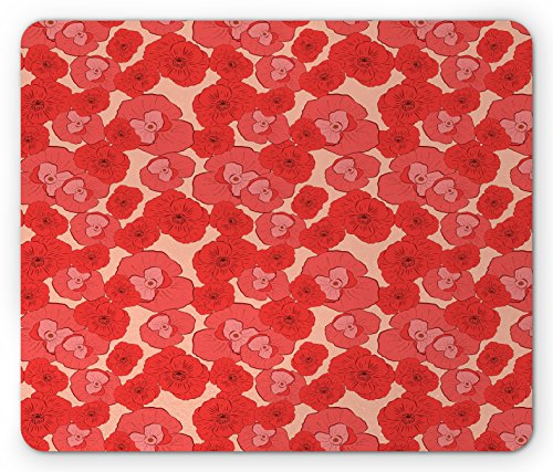 Pale Pink Mouse Pad by Ambesonne, Seasonal Gardening Plants Pattern with Red Poppies Natural Ornaments Artwork, Standard Size Rectangle Non-Slip Rubber Mousepad, Coral Scarlet (Coral Scarlet)