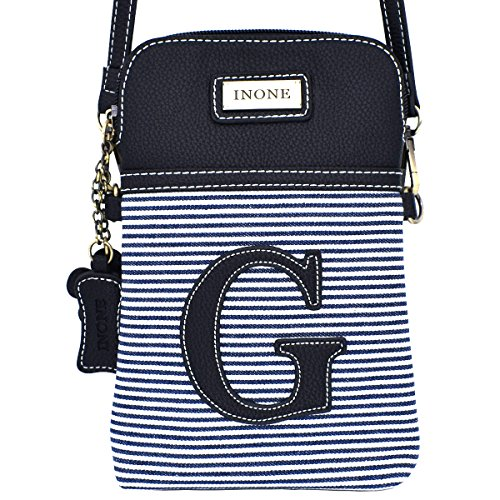 Monogram Handbag Black Purse Leather Letter Crossbody Canvas G Cell PU White Women Stripe Bag inOne with Phone cWw6qxAxHC