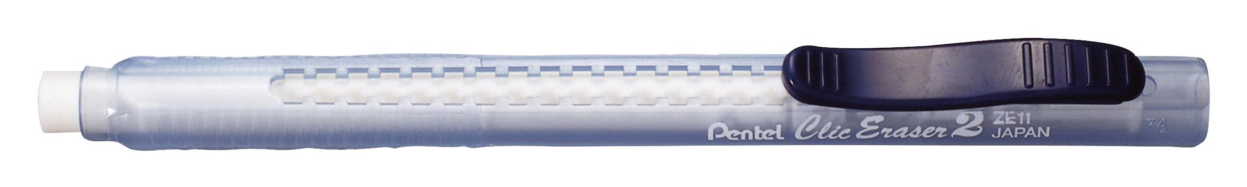 Eraser ClicERASER2, nachfuellb tr.bl pocket with feed Pack of 12)