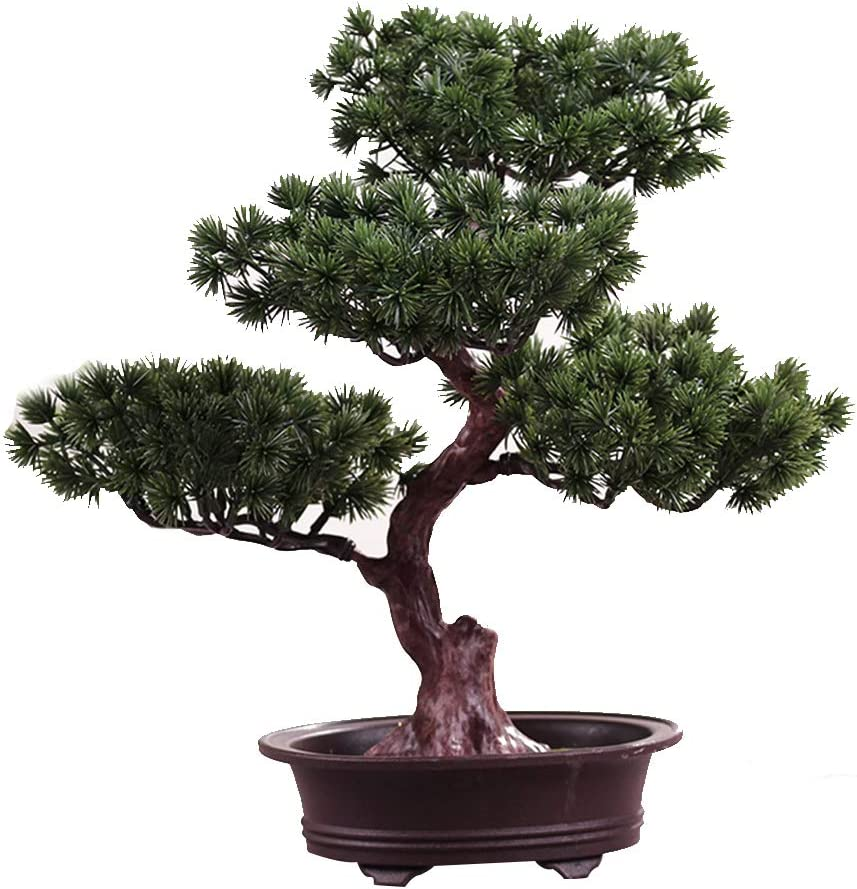 KOET Artificial Bonsai Pine Tree, 11Inch Faux Potted Plant Desk Display Fake Tree Pot Ornaments, Japanese Cedar Bonsai Plant for Home, Office Decoration
