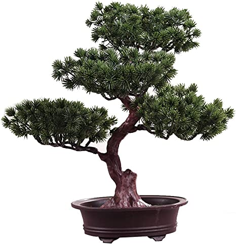 Amazon Com Uksat Artificial Bonsai Tree Potted Plant Ornament Bonsai Plastic Simulation Bonsai Green Plant Not Faded No Watering Potted For Desk Home Office Decoration Type 3 Kitchen Dining
