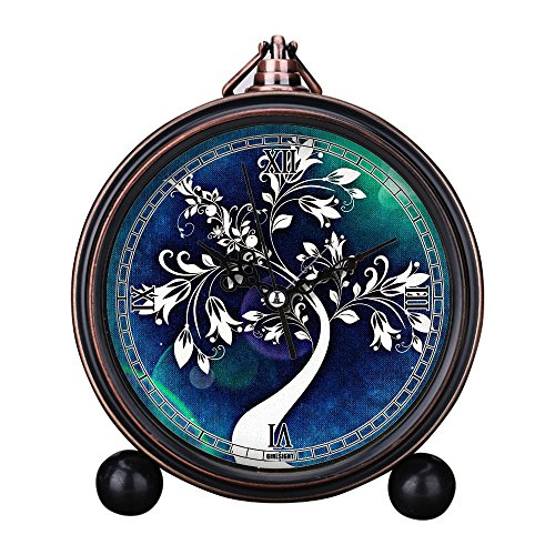 Girlsight Art Retro Living Room Decorative Non-ticking, Easy to Read, Quartz, Analog Large Numerals Bedside Table Desk Alarm Clock-B4611.tree abstract art flowers leaves structure blue
