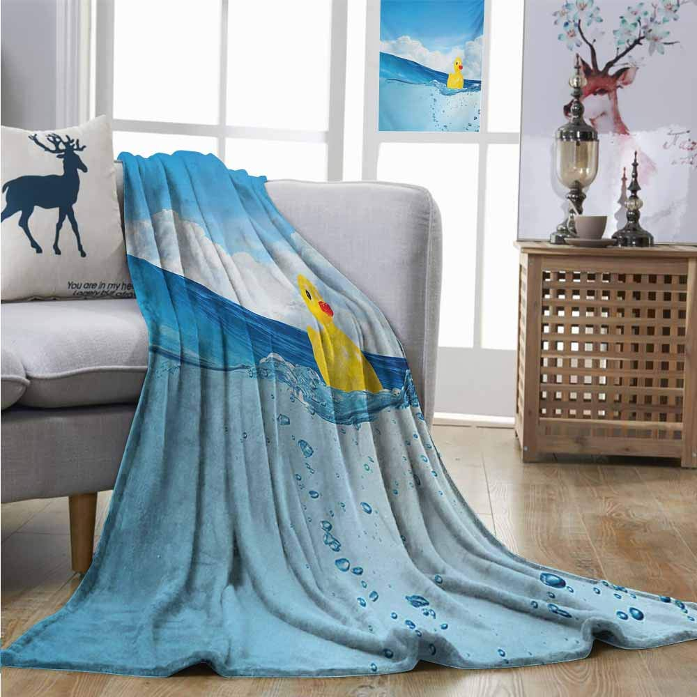 Homrkey Plush Throw Blanket Rubber Duck Little Duckling Toy Swimming in Pond Pool Sea Sunny Day Floating on Water Lightweight All-Season Blanket W60 xL80 Blue and Yellow