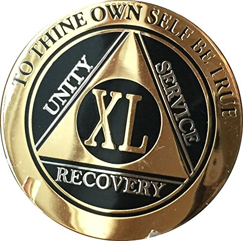 Recoverychip 40 Year AA Medallion Elegant Black Gold Silver Bi-Plated Alcoholics Anonymous Chip