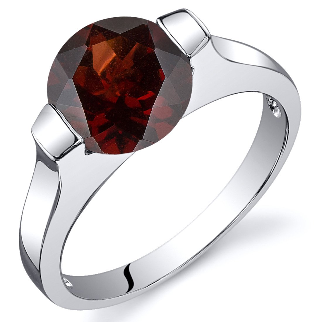 Bezel Set 2.50 carats Garnet Engagement Ring in Sterling Silver Rhodium Nickel Finish Size 6