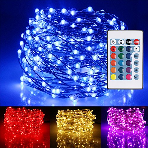 Ustellar 33ft RGB 100 LED Starry String Lights, Outdoor Waterproof Color Changing Copper Wire Fairy Lights with Remote Control/Timer, 8 Brightness Levels, Battery Operated (Not Included)