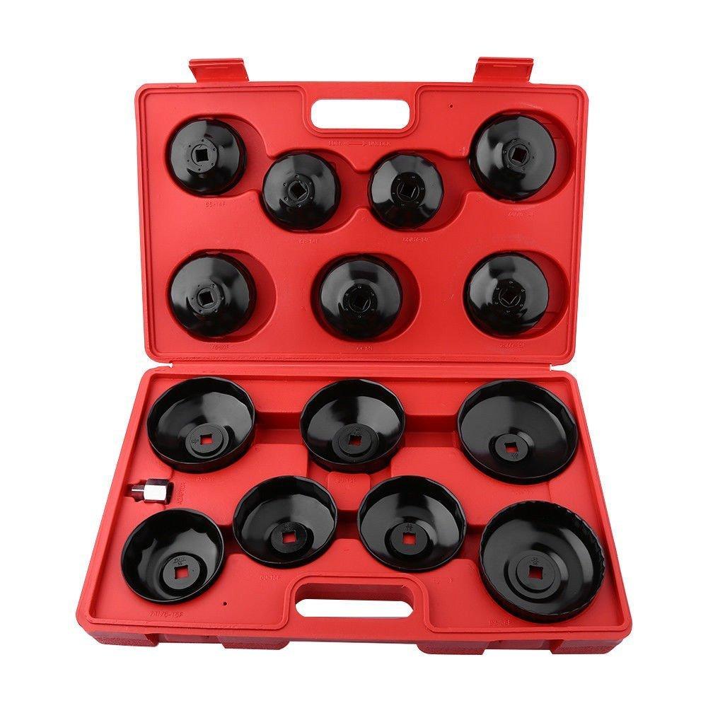malet/ín, gris Euronovit/à en-220667/llaves para filtro aceite a taza vaso Set 15/piezas