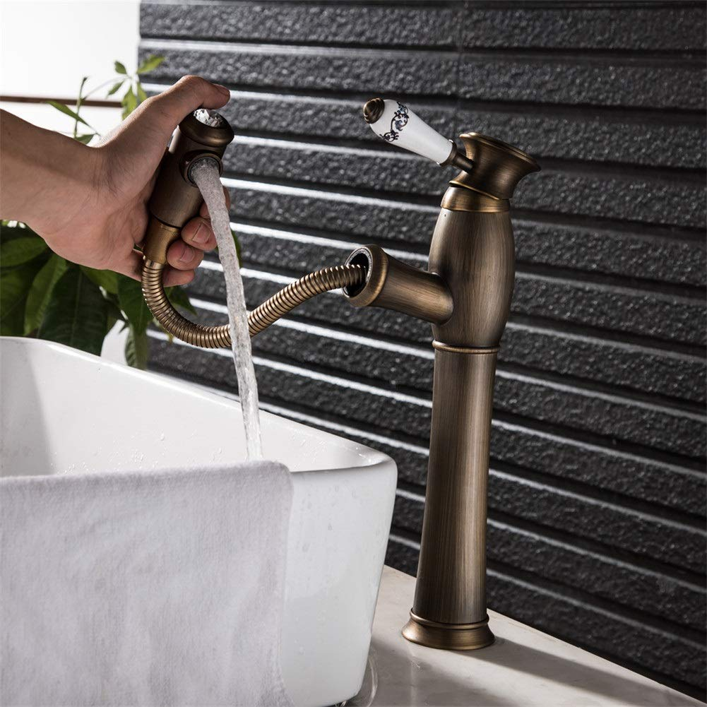 Basin Taps Faucet Bathroom Sink Faucet Antique Bronze Basin Faucet Tap Single Handle Cold and Hot Water Tap (Size : XL)