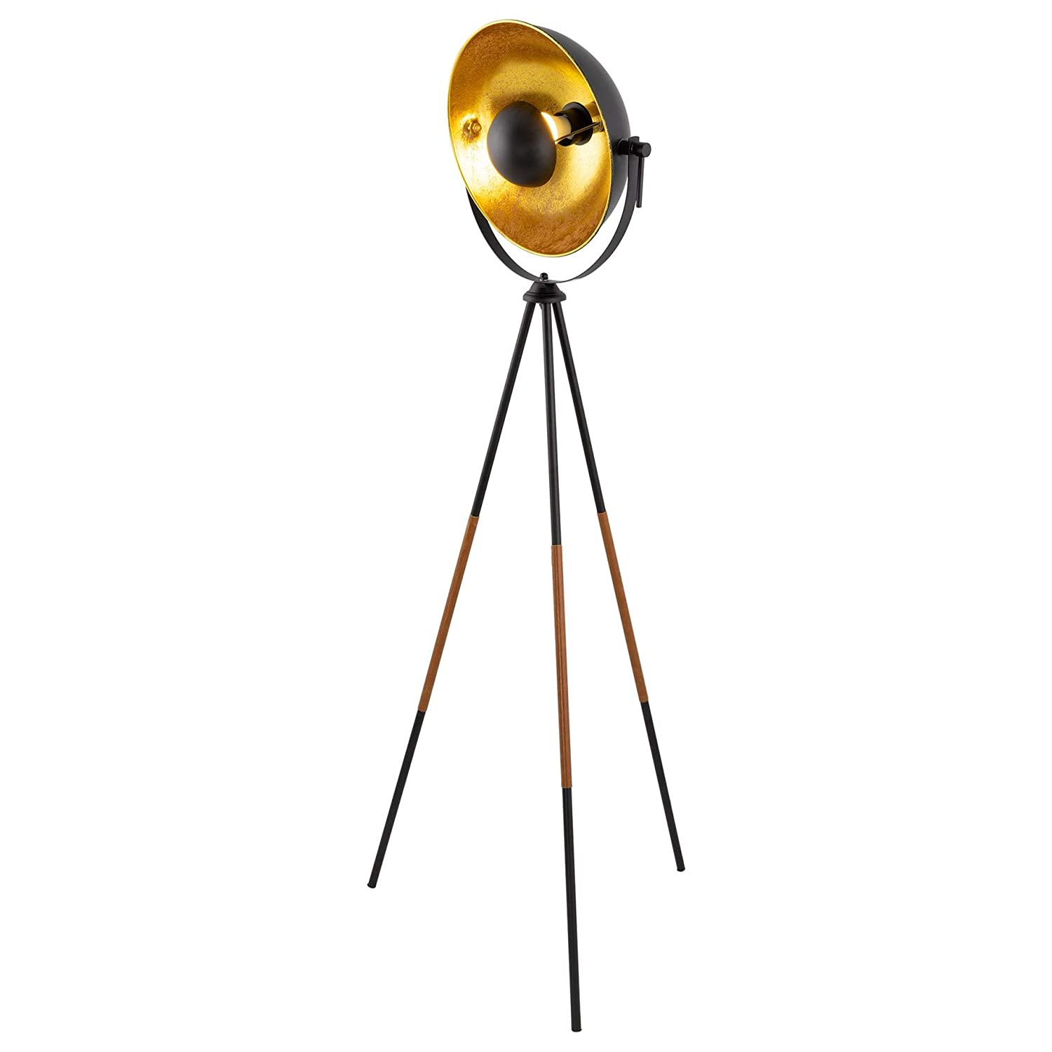 """Kira Home Juno 58"""" Modern Industrial Tripod LED Floor Lamp + 9W Bulb (Energy Efficient/Eco-Friendly), Leather Accent Legs, Satellite Style Shade, Black Finish"""