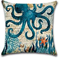 Aremazing Ocean Theme Marine Life Cotton Linen Throw Pillow Case Cushion Cover Home Office Decorative 18 X 18 Inches (Octopus)