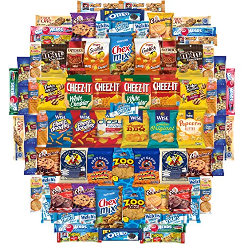 Cookies Chips & Candies Snacks Variety Pack (Care Package 80 Count) (Fun Food Gift Baskets)