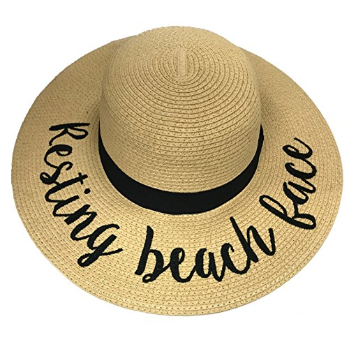 Hatsandscarf CC Exclusives Straw Embroidered Lettering Floppy Brim Sun Hat  (ST-2017) (Resting Beach Face) - Buy Online in Oman.  c6a400d2e28