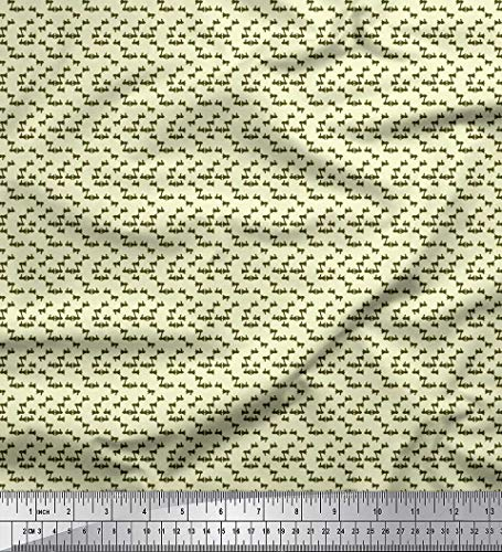 Soimoi Yellow Poly Crepe Fabric Megaphone Shirting Printed Craft Fabric by The Yard 52 Inch Wide
