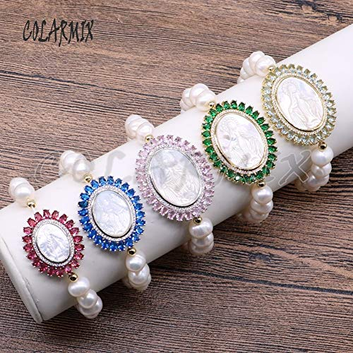 (Gabcus 3 Pieces Shell Stone Bracelets Macrame Mix Colors Beaded Pearl Bracelets Shell Carved Madonna 4515 - (Metal Color: Mix Colors Macrame, Main Stone Color:))