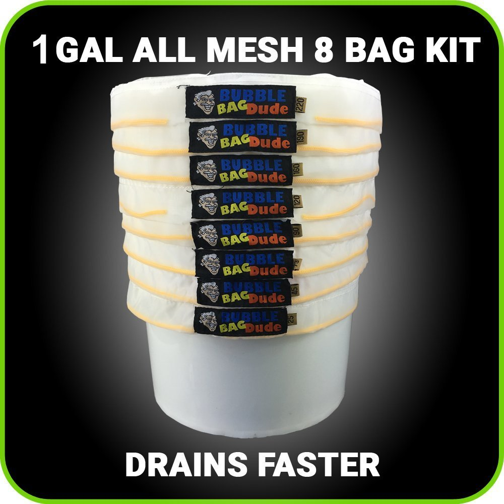 BUBBLEBAGDUDE All Mesh 1 Gallon 8 Bag Herbal Hash Ice Extractor Kit - Comes with Pressing Screen and Storage Bag from Bubblebagdude