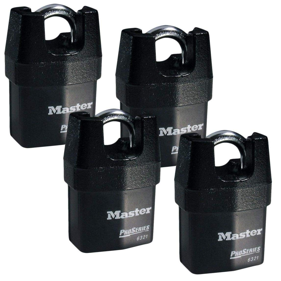 Master Lock - Four (4) High Security Pro Series Padlocks 6321NKA-4 w/ BumpStop Technology.