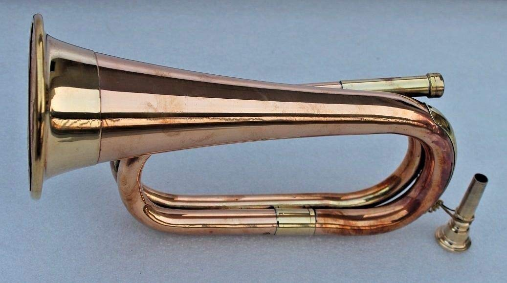 Bugal Bb Low Pitch Tuneable Army,Military Copper Bugle With Free Hard Case + M/P