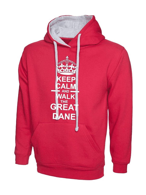 Keep Calm /& Walk The Great Dane Dog Mens Womens Hoody Hoodie Hooded Sweatshirt