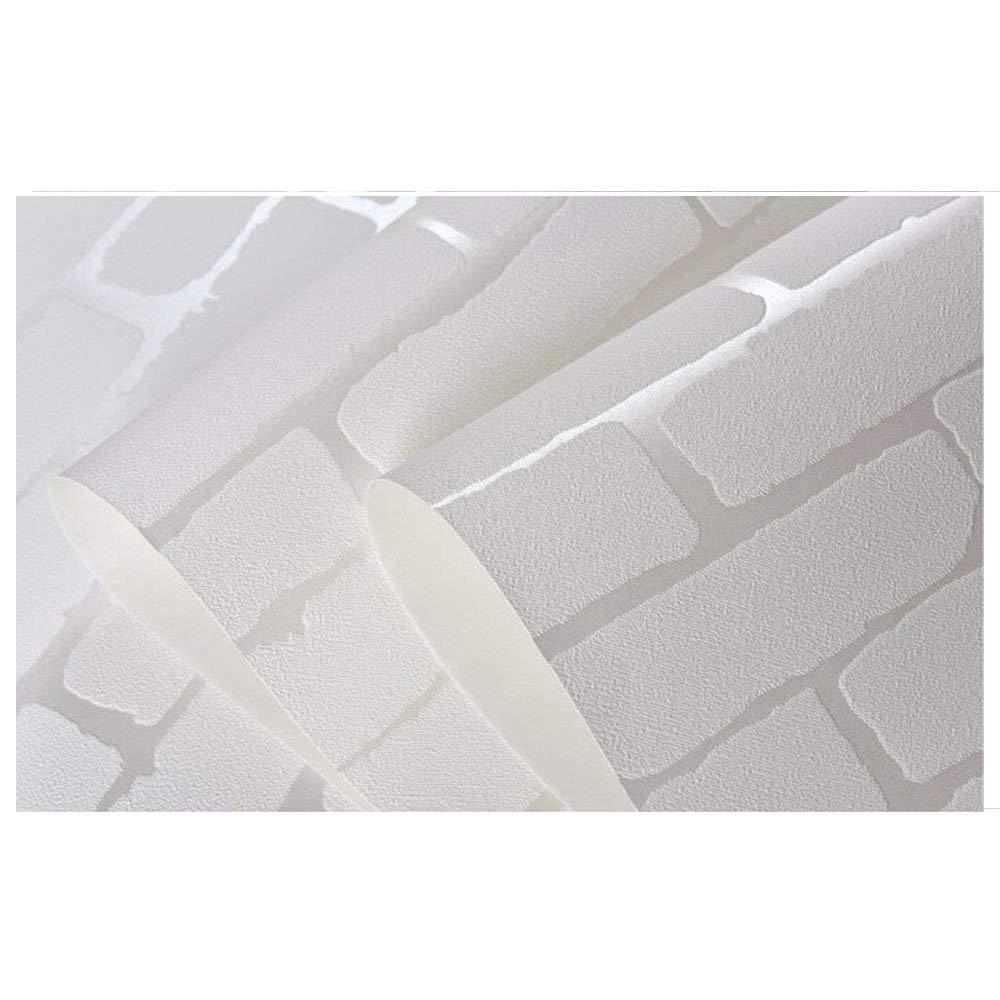 amovible Peel et bâton 3d Blanc Brique Rouleau de papier peint Brique Autocollant Tissu non tissé Home Decor Papier mural (52, 5x 495, 3cm) 5x 495 3cm) F&U