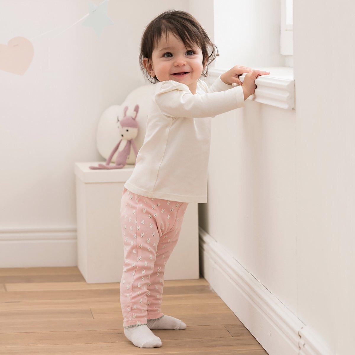 /Öko-Tex zertifiziert- Jogginghose f/ür Babys//Neugeborene//M/ädchen Farbe: gr/ün rosa mit Druckkn/öpfen Baumwolle BORNINO 2er Pack Leggings//Stoffhose
