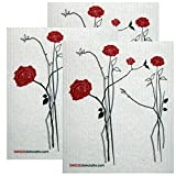 Elegant Red Roses Set of 3 each Swedish Dishcloths | ECO Friendly Absorbent Cleaning Cloth | Reusable Cleaning Wipes