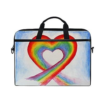 AHOMY Watercolor Rainbow Heart 15 Inch Laptop Shoulder Sleeve Messenger Bag Case