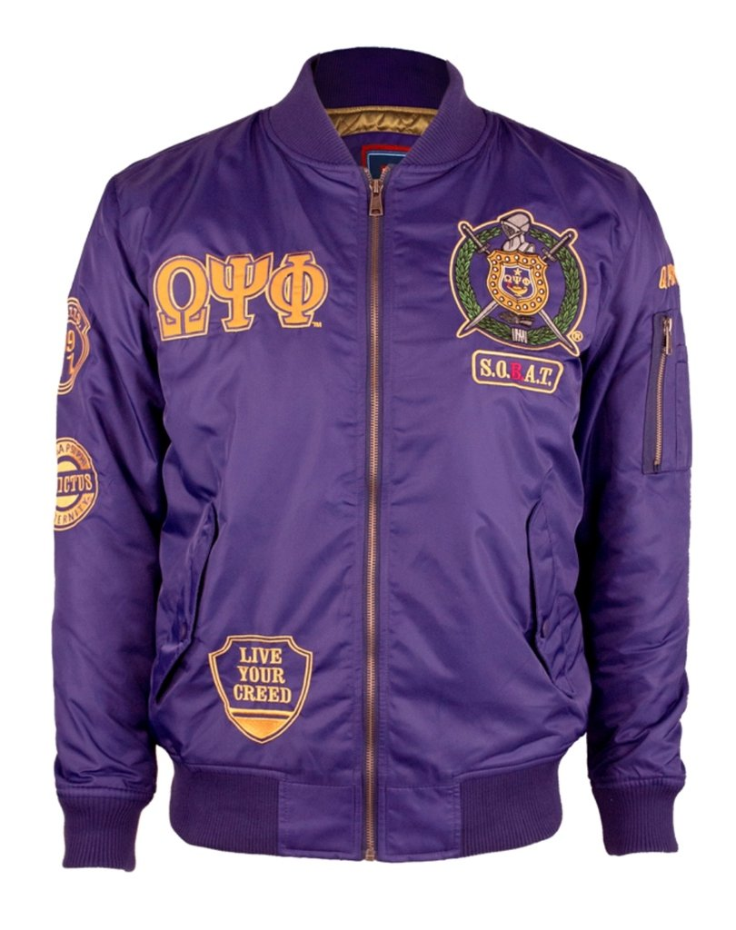 Omega Psi Phi Fraternity Mens Bomber Jacket 3XL Purple