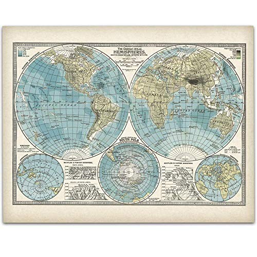 1897 Global Hemispheres World Map - 11x14 Unframed Art Print - Great Vintage Home Decor, Also Makes a Great Gift Under $15 ()