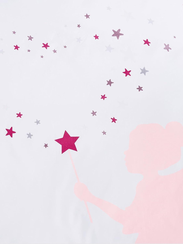Vertbaudet Parure Housse de Couette + taie d'oreiller Enfant Petite FEE Blanc imprimé 140X200 - TAIE 63X63