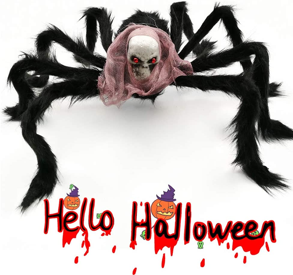 Halloween Large Spider Decoration, Jumbo Horror Skeleton Spider Prank Prop with Vivid Red Eyes and Scarf Foam Props for Indoor Outdoor Yard Scary Realistic Araneid Hallowmas Party Supplies Décor