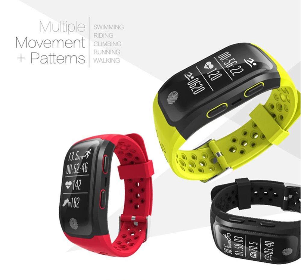 YFWDY smart armband fitness tracker GPS Bluetooth sport armband IP68 vattentät klocka puls sömn sittande påminnelse UH Röd