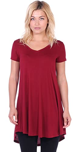 Popana Women's Short Sleeve Tunic Top Loose Fit Shirt - Wear With Leggings Plus Size - Made In USA