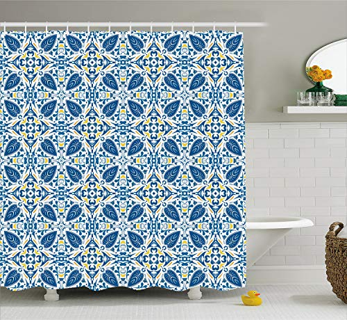 Ambesonne Yellow and Blue Shower Curtain, Portuguese Traditional Tiles Abstract Mosaic Floral Swirl Motifs, Fabric Bathroom Decor Set with Hooks, 75 inches Long, Blue Orange Yellow