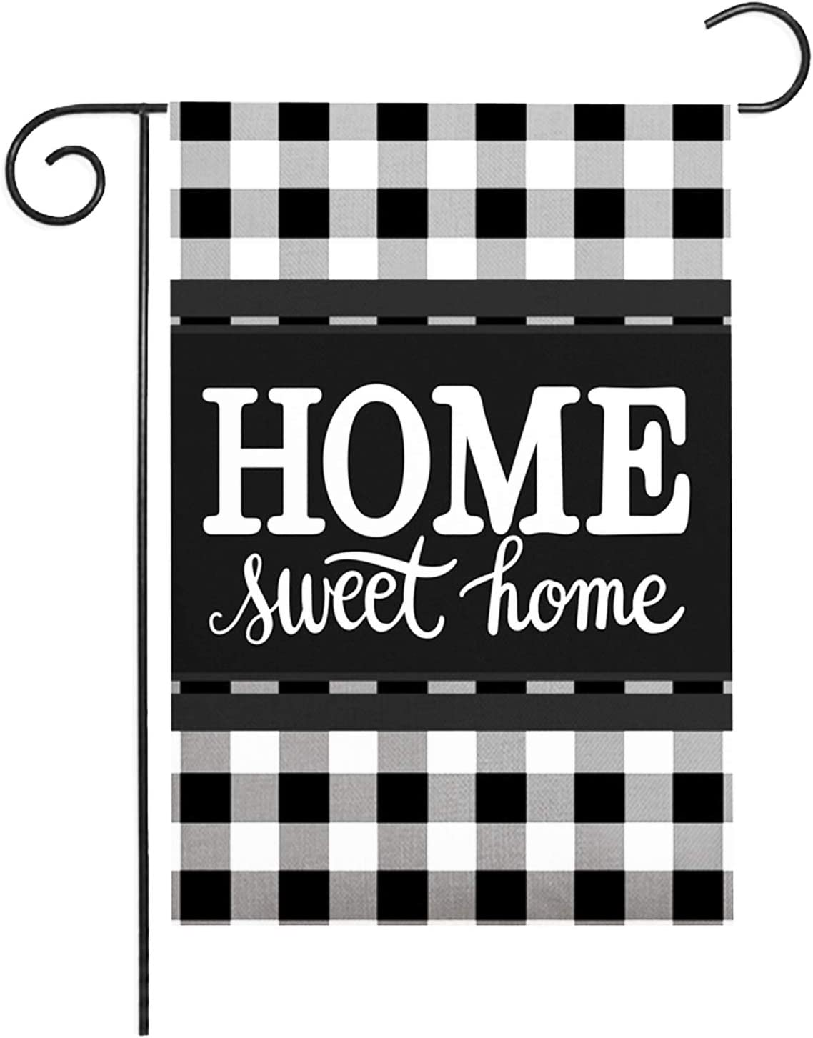 ZUEXT Black and White Buffalo Check Plaid Garden Flag 12.5x18 Inch Vertical Double Sided, Cotton Linen Burlap Welcome Home Outdoor Yard Flag, Holiday Seasonal Farmhouse House Flags(Home Sweet Home)