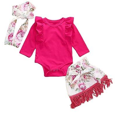 8610a5208282c Baby Clothes Set, Girls Plain Ruched Romper Tops +Tassels Print Skirt +  Headband Toddler