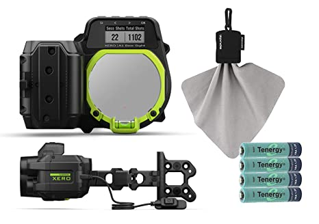 Garmin Xero A1i Bow Sight Bundle With Retractable Microfiber Towel Rechargeable Batteries 4 Pack Aaa Auto Ranging Digital Sight Dual Color Led