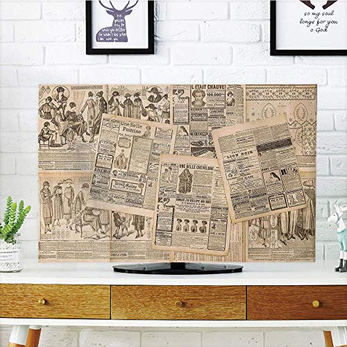 (CANCAKA LCD TV dust Cover Strong Durability,Antique Decor,Newspaper Pages with Advertising and Fashion Magazine Compatible Woman Edwardian Publicity Image,Cream,Picture Print Design Compatible 60