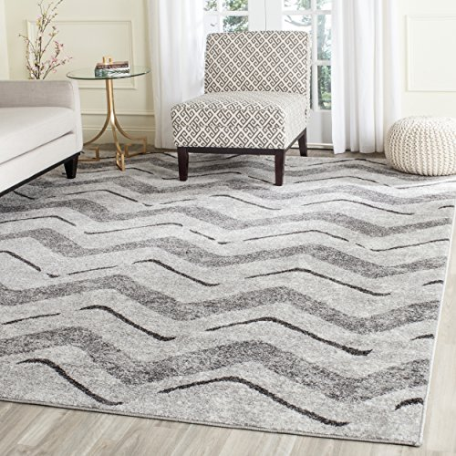 Safavieh Adirondack Collection ADR121P Silver Charcoal Modern Chevron Area Rug (8' x 10')