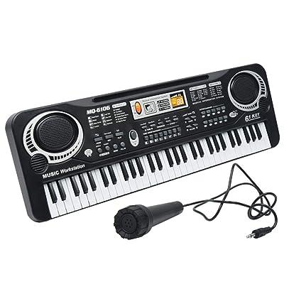 61 tasti multifunzione elettronico pianoforte Microfono Bambini educativi Giocattoli Musica Strumento: Hogar