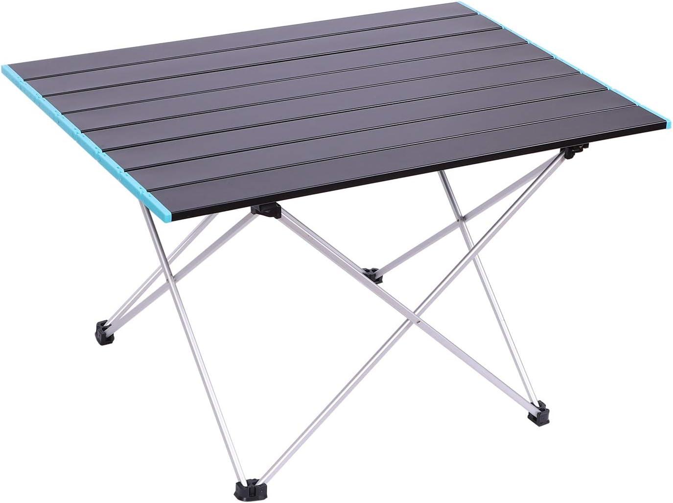 Mesa de camping plegable de aleación de aluminio, mesa baja, jardín, interior, exterior, portátil, con bolsa de transporte, mesa de comer, ligera, para picnic, barbacoa, senderismo, viaje o playa