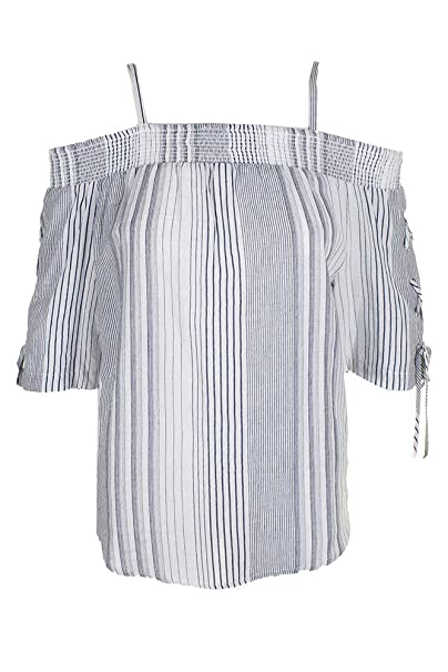 a6a83106f2a BCX Junior Blue Cold-Shoulder Lace-Up Sleeve Striped Top S at Amazon  Women's Clothing store: