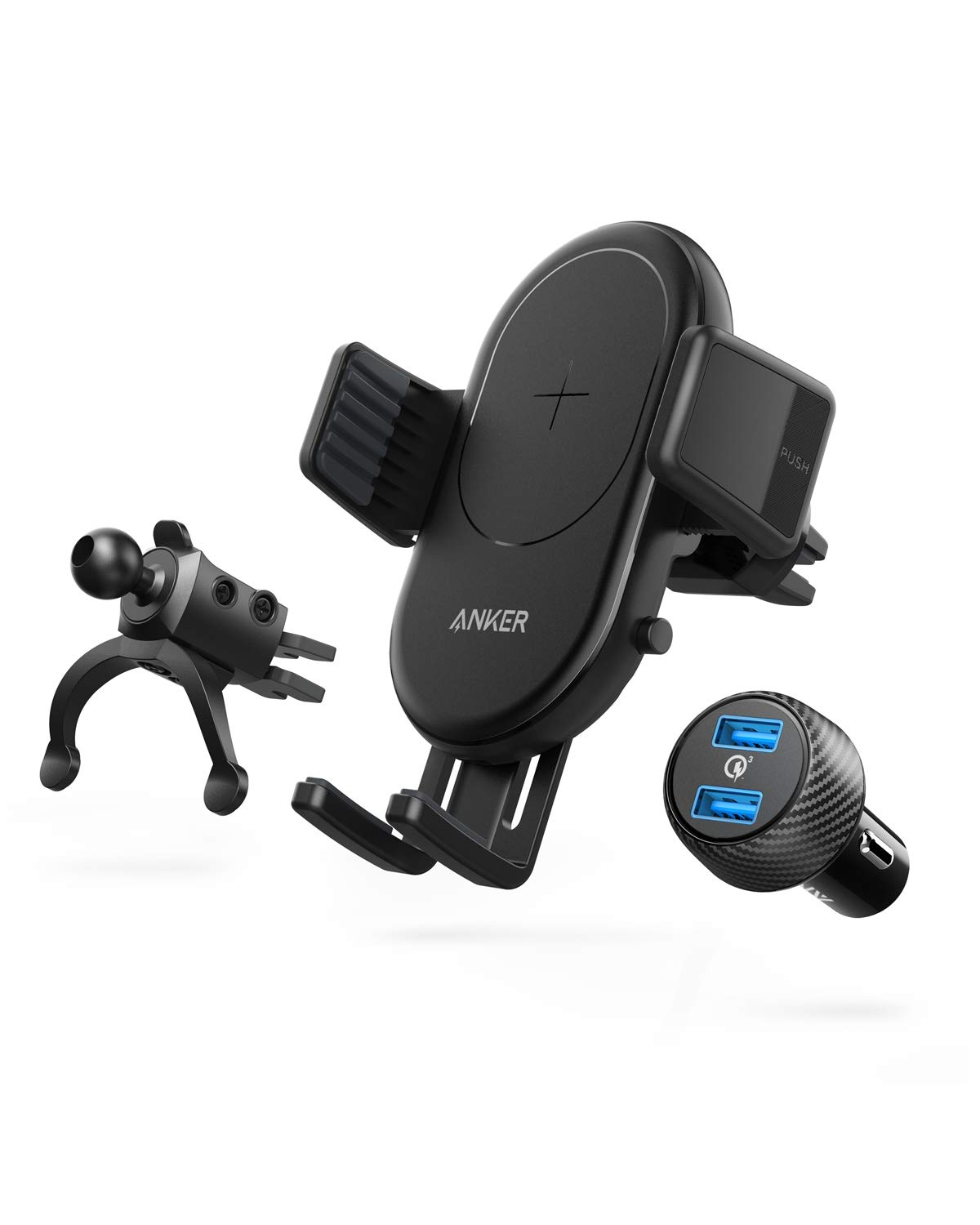 Anker PowerWave Fast Wireless Car Charger with Air Vent Phone Holder, Qi-Certified, 7.5W Fast Charging iPhone Xs Max/XR/XS/X/8/8 Plus, 10W for Galaxy S9/S9+/S8/S8+ (Quick Charge Car Charger Included) by Anker
