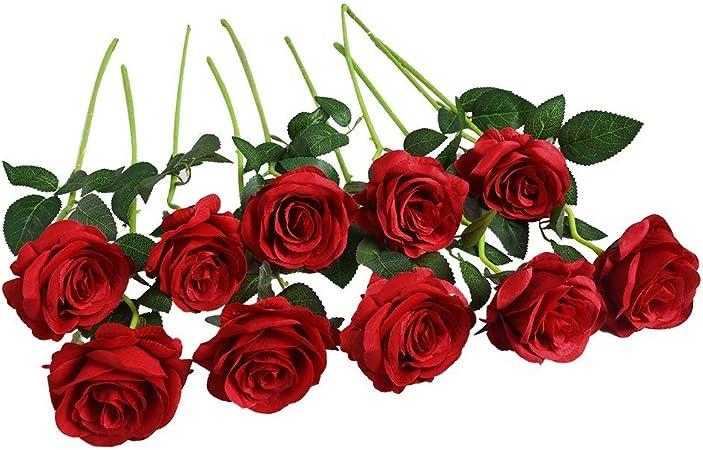 Hot 12 Rosen Seidenblumen Kunstblumen Künstliche Blumenstrauß Floristik Hochzeit