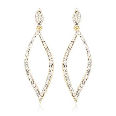 a2280031b0055 RIAH FASHION Sparkly Rhinestone Chandelier Statement Drop Earrings - Bridal  Wedding Crystal Cubic Zirconia Geometric Dangles Rectangle, Teardrop, ...