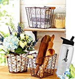 Gift Included- Pantry or Closet Country Farmhouse Rustic Storage & Organization Baskets Set of 3 + FREE Bonus Water Bottle by Homecricket