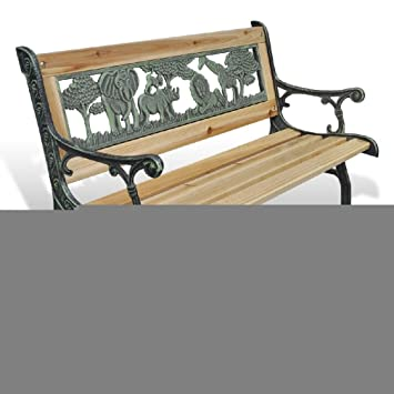 ENFANTS en bois Banc de jardin fer Chaise Park Assise pour meubles d ...