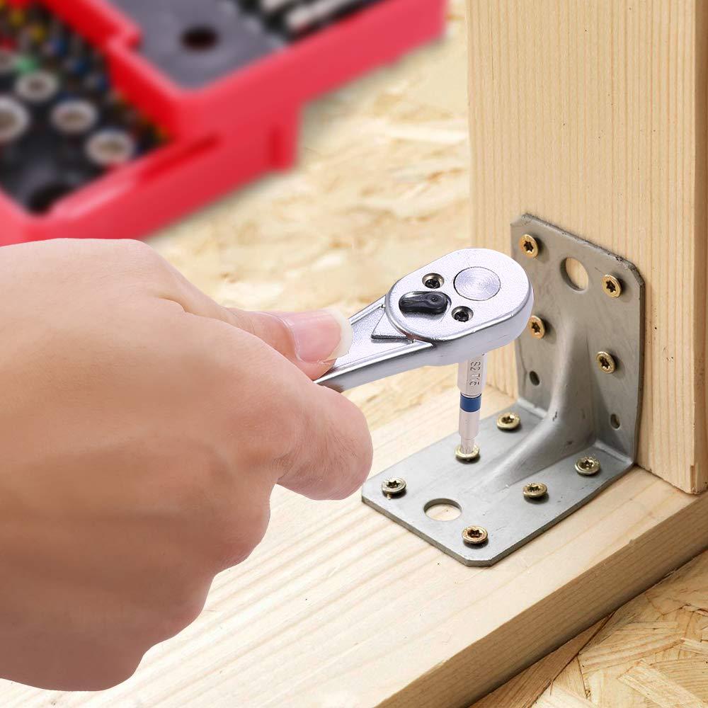 Meterk 41 Pcs Mini Ratchet and Bit Set Socket Wrench Screwdriver Set with 1 Socket Wrench 1/4'' Drive, 1 Adapter, 10 Sockets and 29 Screwdriver Bits( 25mm and 50mm), Multipurpose Ratchet Bits Set by Meterk (Image #6)